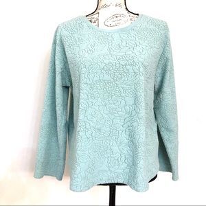 Oscar de La Renta Teal Floral Embossed Sweater